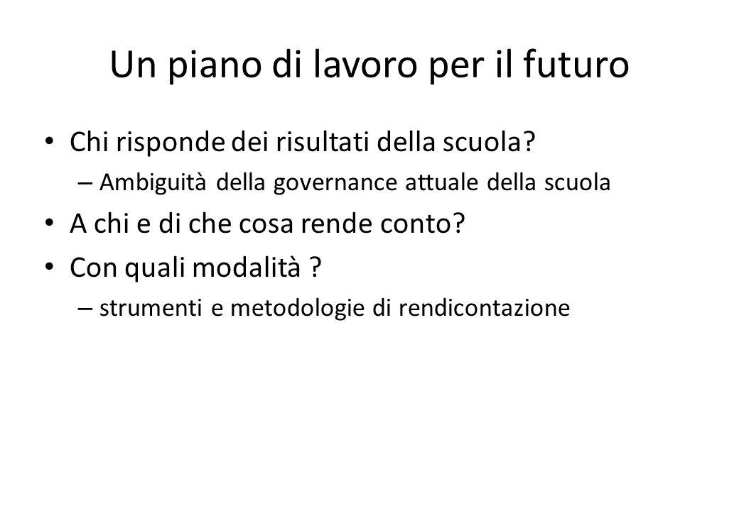 Un piano di lavoro per il futuro Chi risponde dei risultati della scuola.