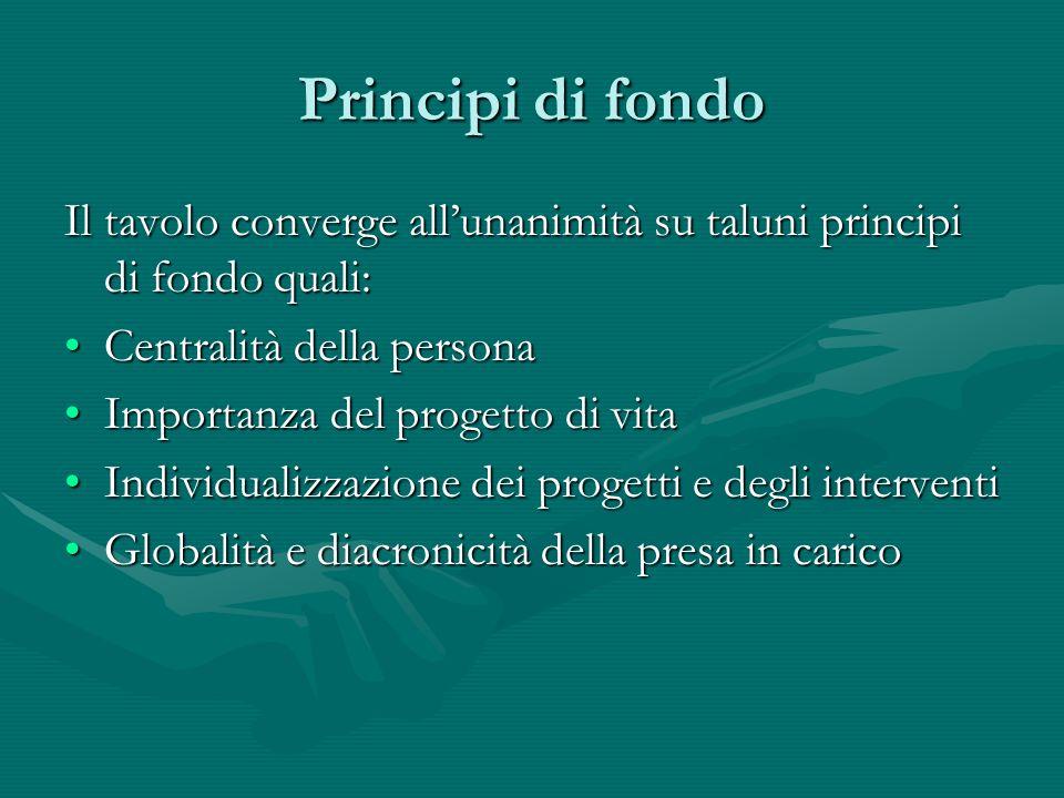 Principi di fondo Il tavolo converge allunanimità su taluni principi di fondo quali: Centralità della personaCentralità della persona Importanza del p