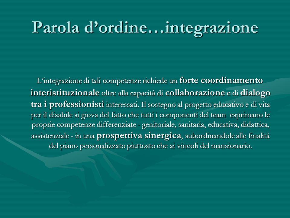 Parola dordine…integrazione Lintegrazione di tali competenze richiede un forte coordinamento interistituzionale oltre alla capacità di collaborazione