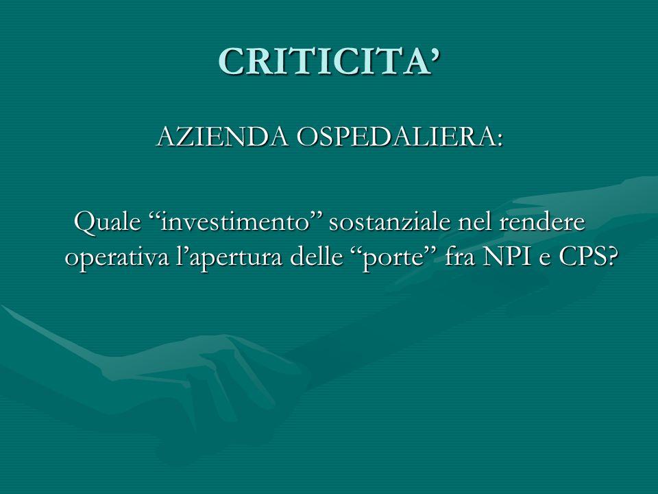 CRITICITA AZIENDA OSPEDALIERA: Quale investimento sostanziale nel rendere operativa lapertura delle porte fra NPI e CPS?