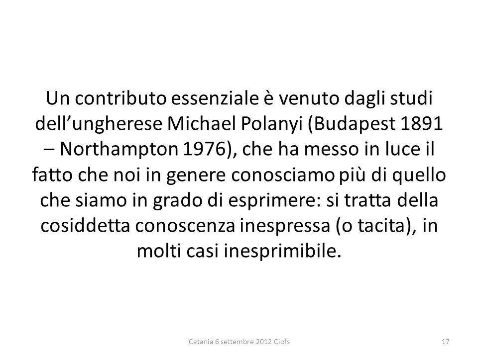 Un contributo essenziale è venuto dagli studi dellungherese Michael Polanyi (Budapest 1891 – Northampton 1976), che ha messo in luce il fatto che noi in genere conosciamo più di quello che siamo in grado di esprimere: si tratta della cosiddetta conoscenza inespressa (o tacita), in molti casi inesprimibile.
