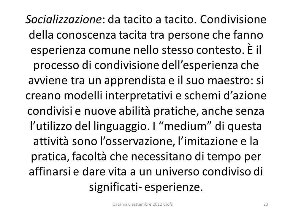 Socializzazione: da tacito a tacito.