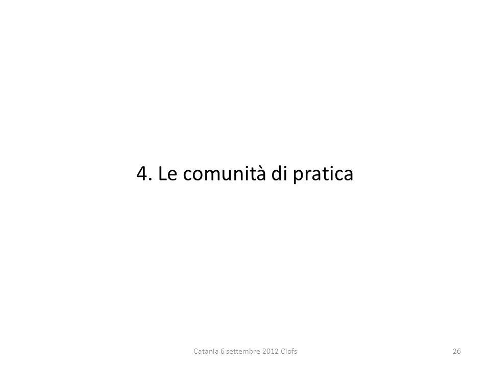 4. Le comunità di pratica Catania 6 settembre 2012 Ciofs26
