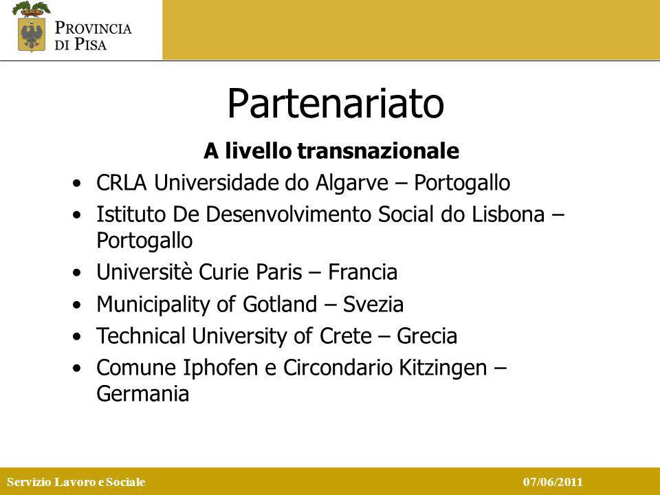 Servizio Lavoro e Sociale 07/06/2011 Partenariato A livello transnazionale CRLA Universidade do Algarve – Portogallo Istituto De Desenvolvimento Social do Lisbona – Portogallo Universitè Curie Paris – Francia Municipality of Gotland – Svezia Technical University of Crete – Grecia Comune Iphofen e Circondario Kitzingen – Germania