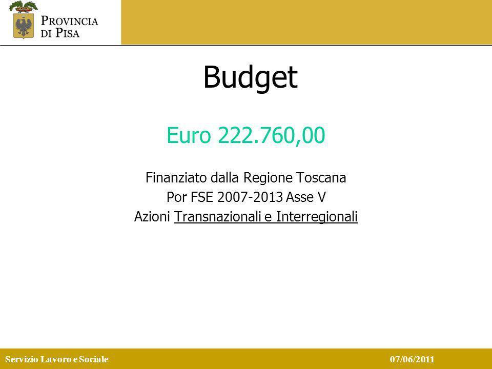 Servizio Lavoro e Sociale 07/06/2011 Budget Euro 222.760,00 Finanziato dalla Regione Toscana Por FSE 2007-2013 Asse V Azioni Transnazionali e Interregionali