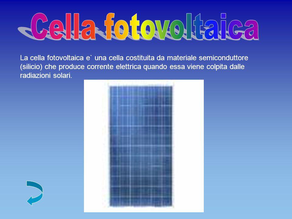 La cella fotovoltaica e` una cella costituita da materiale semiconduttore (silicio) che produce corrente elettrica quando essa viene colpita dalle radiazioni solari.