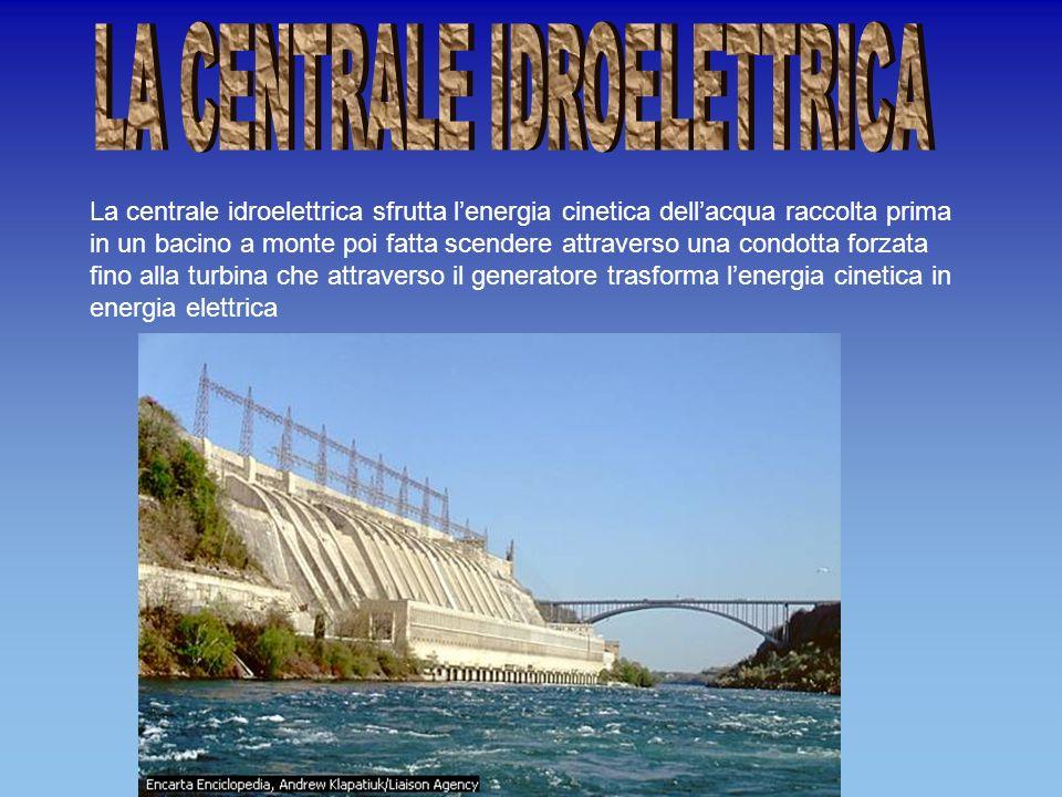 La centrale idroelettrica sfrutta lenergia cinetica dellacqua raccolta prima in un bacino a monte poi fatta scendere attraverso una condotta forzata fino alla turbina che attraverso il generatore trasforma lenergia cinetica in energia elettrica