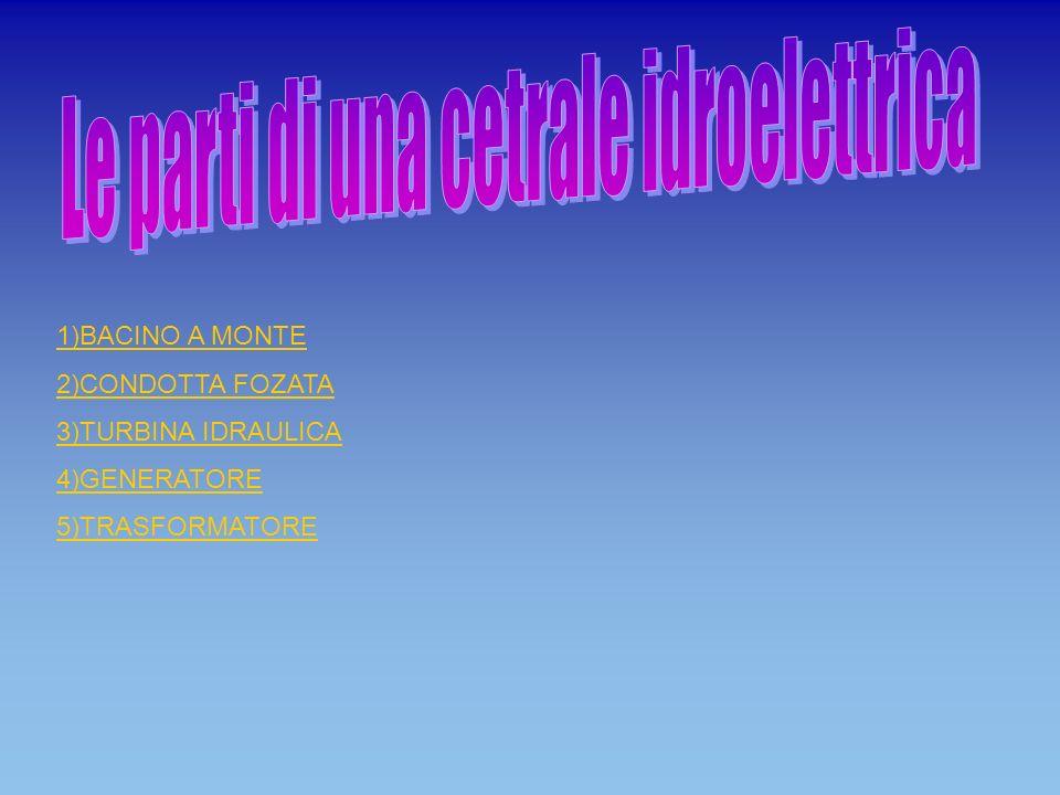 1)BACINO A MONTE 2)CONDOTTA FOZATA 3)TURBINA IDRAULICA 4)GENERATORE 5)TRASFORMATORE