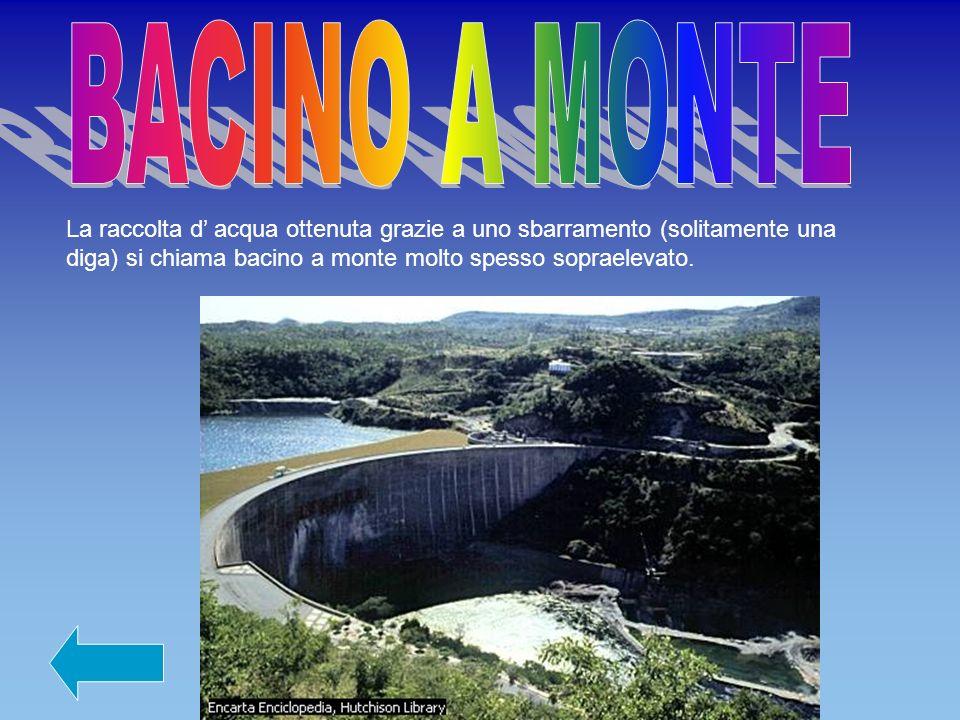 La raccolta d acqua ottenuta grazie a uno sbarramento (solitamente una diga) si chiama bacino a monte molto spesso sopraelevato.