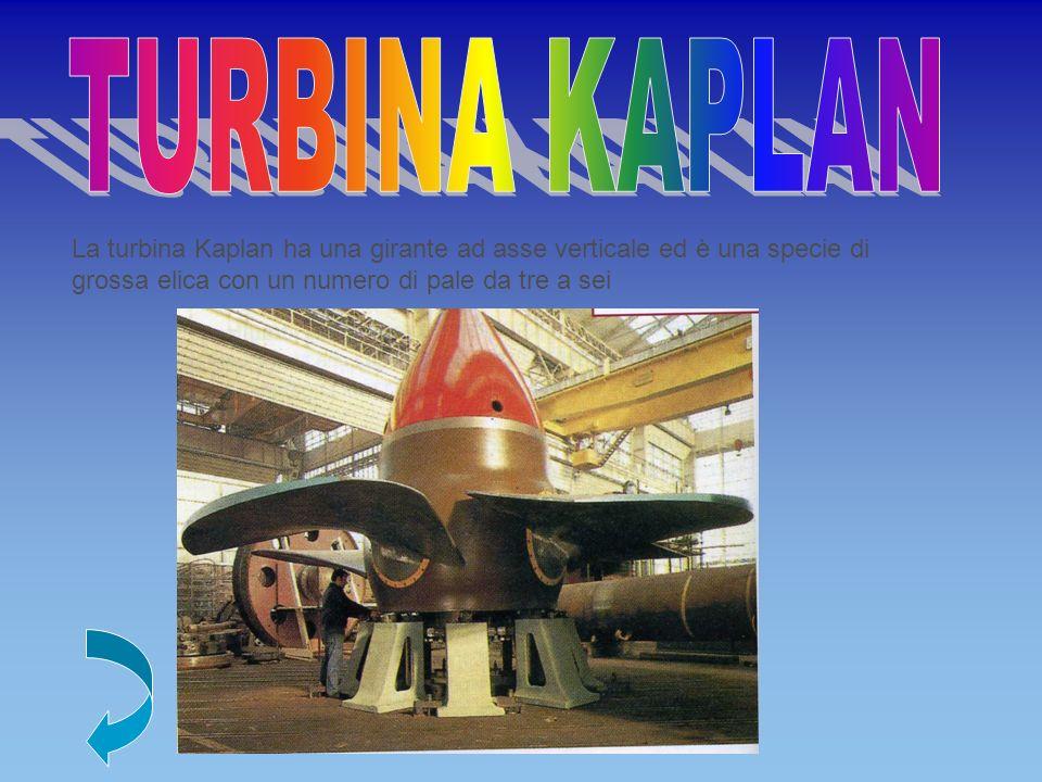 La turbina Kaplan ha una girante ad asse verticale ed è una specie di grossa elica con un numero di pale da tre a sei
