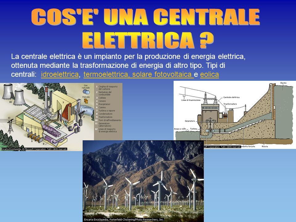 Cosa sfruttano le centrali 1.Centrale termoelettrica tradizionale: il calore si ottiene dalla combustione di olio combustibile o di carbone o di metano;Centrale termoelettrica tradizionale 2.Centrale geotermoelettrica: il vapore ad alta pressione e` ottenuto dall`interno della terra, in luoghi in cui ci sono gayser;Centrale geotermoelettrica 3.Centrale elettronucleare: il calore e` ottenuto dalla fissione dell`uranio 235;Centrale elettronucleare 4.Centrale solare a specchi: qui viene convertita in energia elettrica l`energia raggiante trasportata dai raggi solari.Centrale solare a specchi