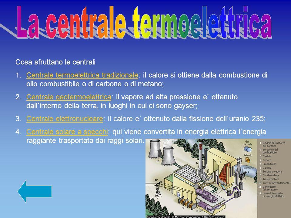 Cosa sfruttano le centrali 1.Centrale termoelettrica tradizionale: il calore si ottiene dalla combustione di olio combustibile o di carbone o di metan