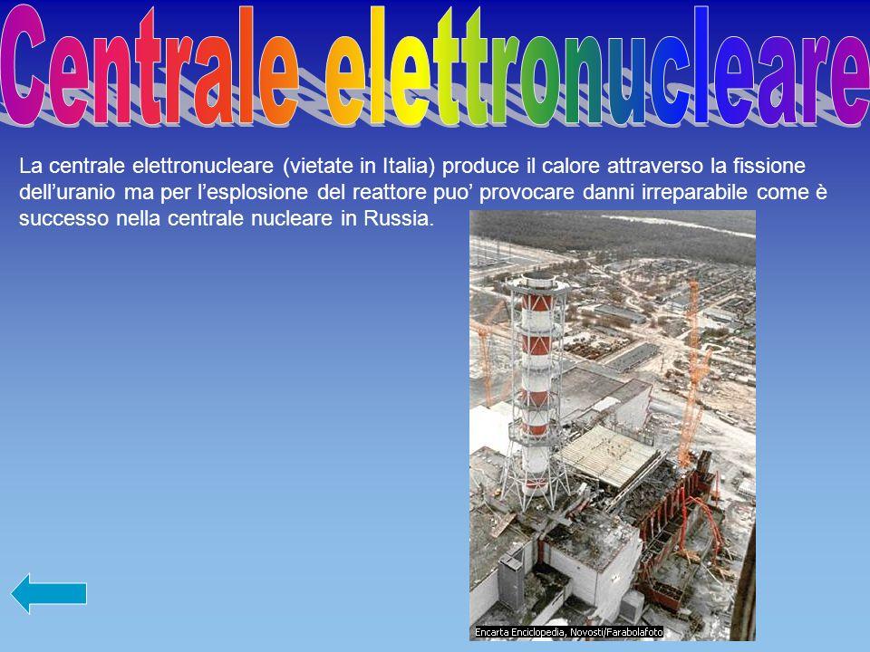 La centrale elettronucleare (vietate in Italia) produce il calore attraverso la fissione delluranio ma per lesplosione del reattore puo provocare danni irreparabile come è successo nella centrale nucleare in Russia.