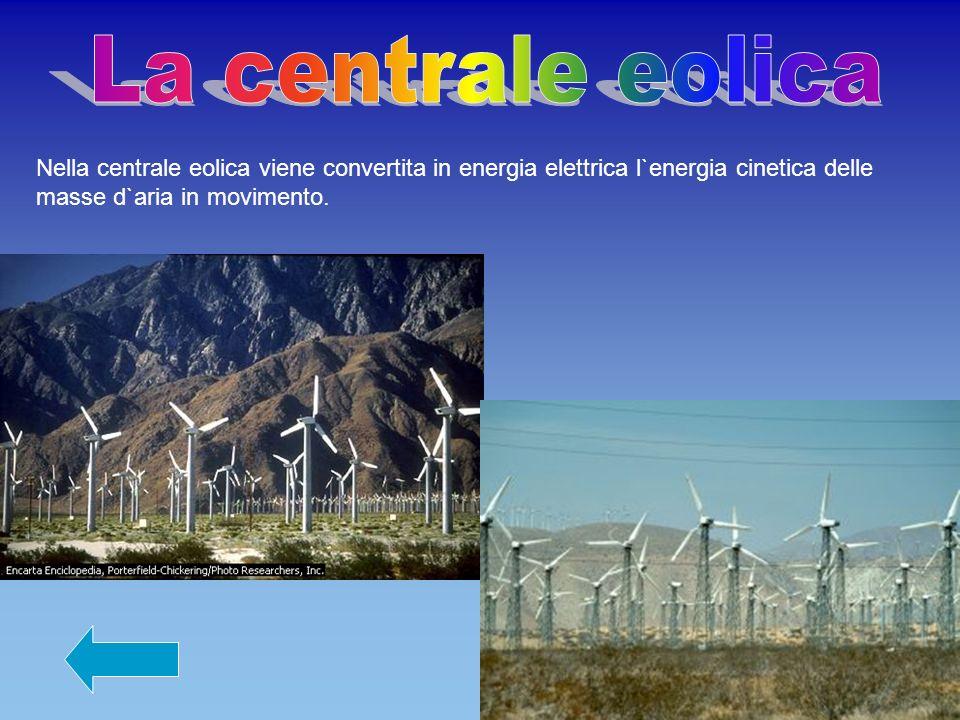 Nella centrale eolica viene convertita in energia elettrica l`energia cinetica delle masse d`aria in movimento.