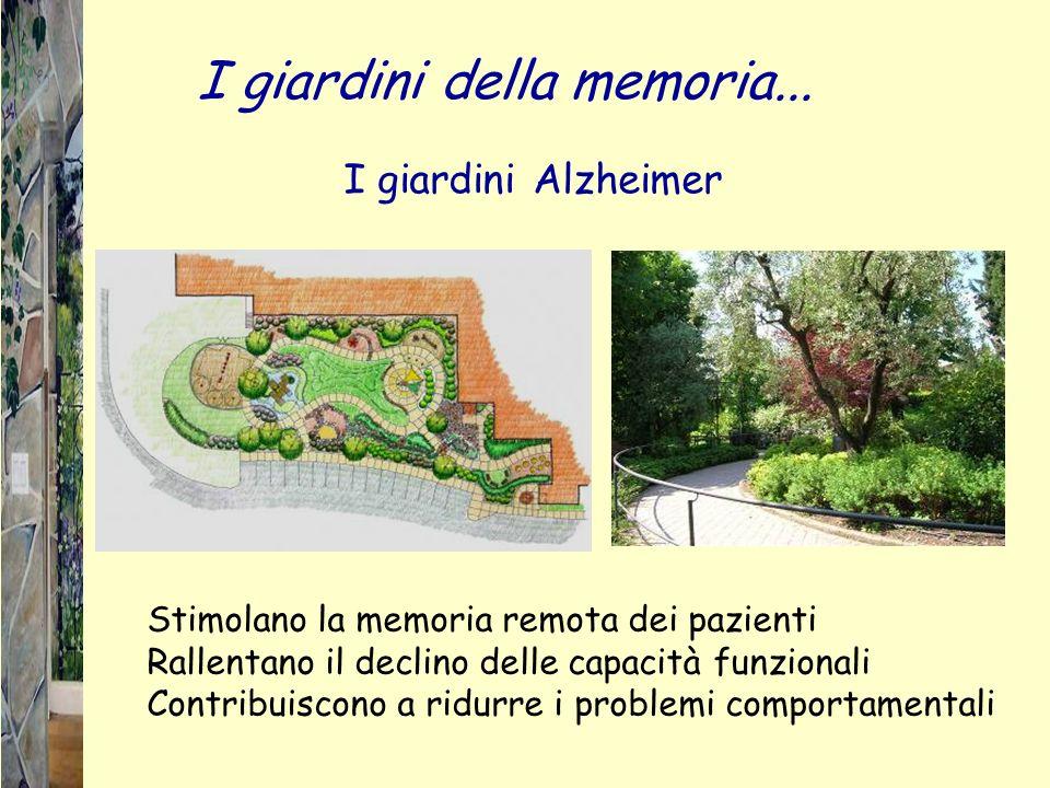 Stimolano la memoria remota dei pazienti Rallentano il declino delle capacità funzionali Contribuiscono a ridurre i problemi comportamentali I giardini Alzheimer I giardini della memoria...
