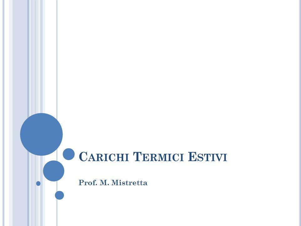 C ARICHI T ERMICI E STIVI Prof. M. Mistretta