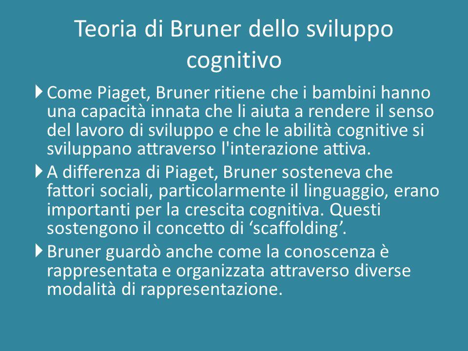Come Piaget, Bruner ritiene che i bambini hanno una capacità innata che li aiuta a rendere il senso del lavoro di sviluppo e che le abilità cognitive