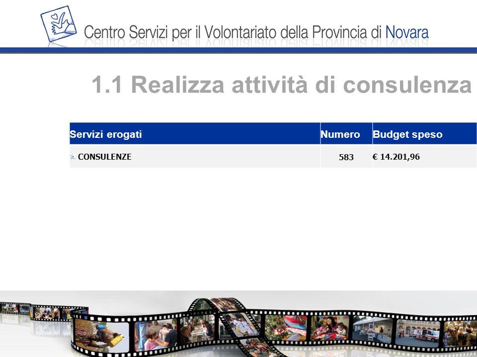 1.1 Realizza attività di consulenza Servizi erogatiNumeroBudget speso CONSULENZE583 14.201,96