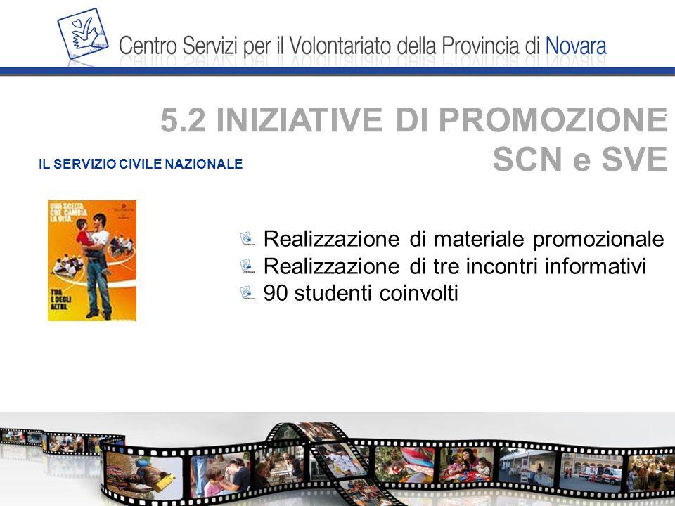 . IL SERVIZIO CIVILE NAZIONALE Realizzazione di materiale promozionale Realizzazione di tre incontri informativi 90 studenti coinvolti 5.2 INIZIATIVE DI PROMOZIONE SCN e SVE