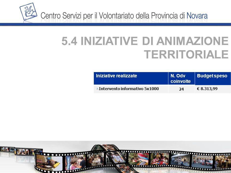 5.4 INIZIATIVE DI ANIMAZIONE TERRITORIALE Iniziative realizzateN.