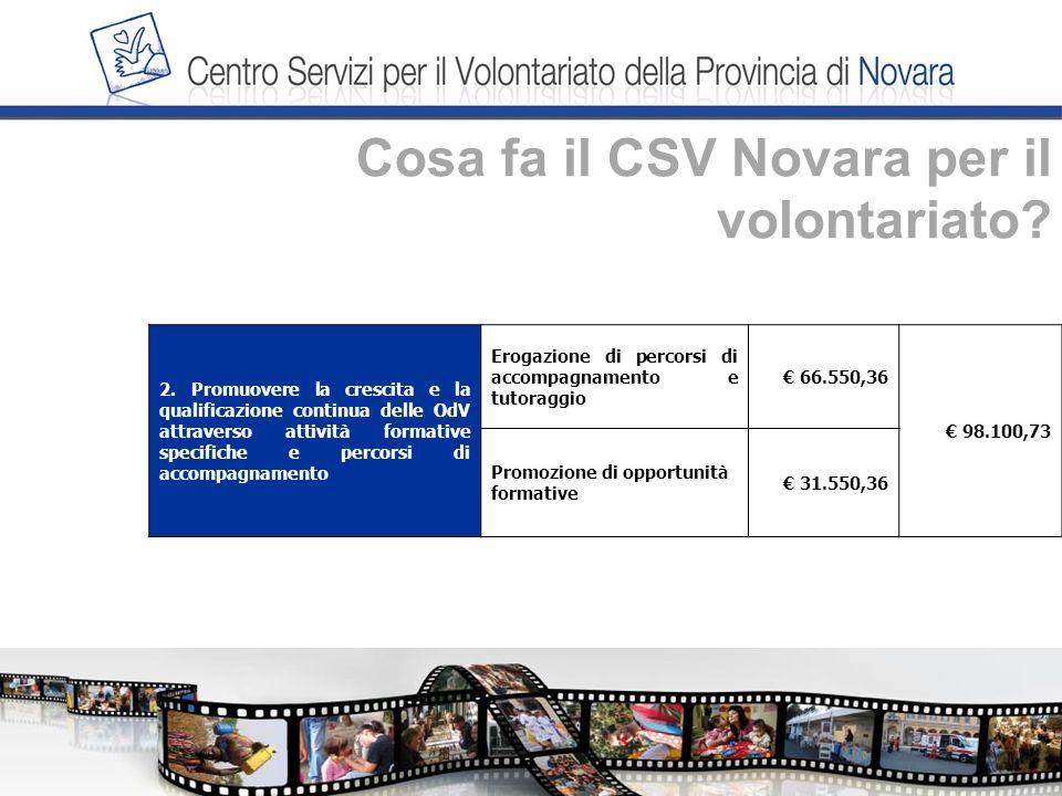 Cosa fa il CSV Novara per il volontariato. 2.