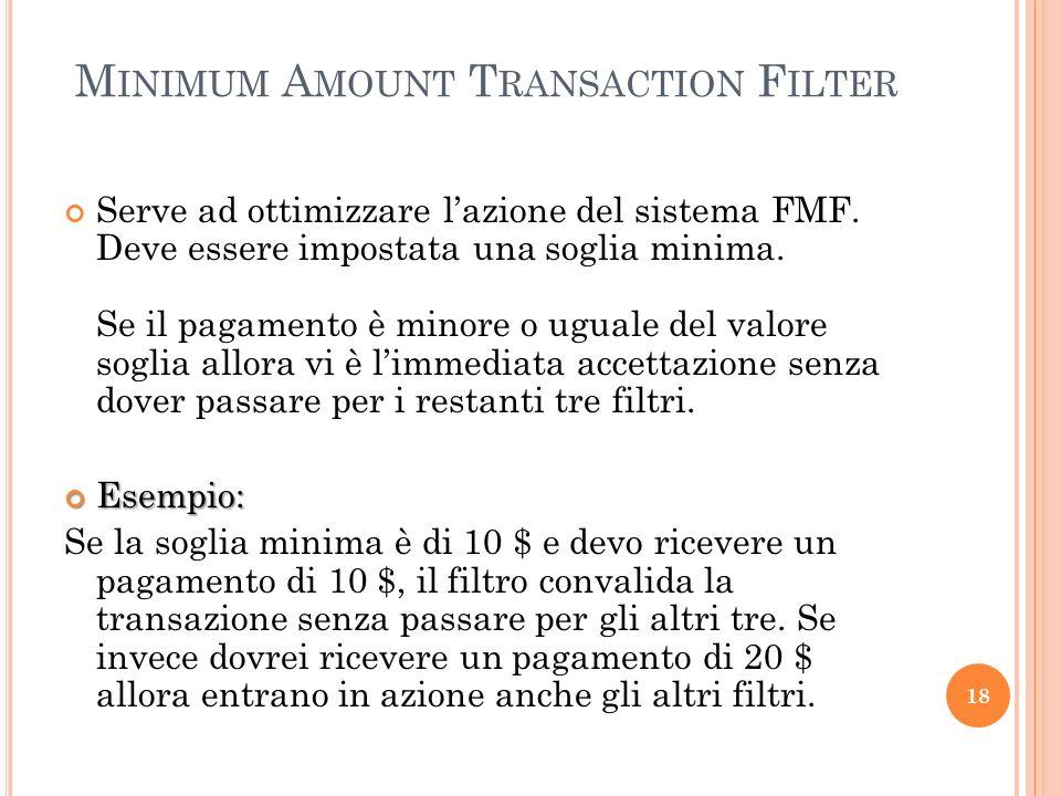 M INIMUM A MOUNT T RANSACTION F ILTER Serve ad ottimizzare lazione del sistema FMF. Deve essere impostata una soglia minima. Se il pagamento è minore