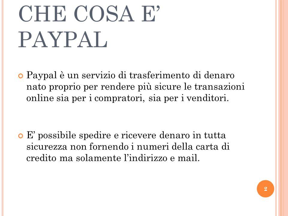 CHE COSA E PAYPAL Paypal è un servizio di trasferimento di denaro nato proprio per rendere più sicure le transazioni online sia per i compratori, sia