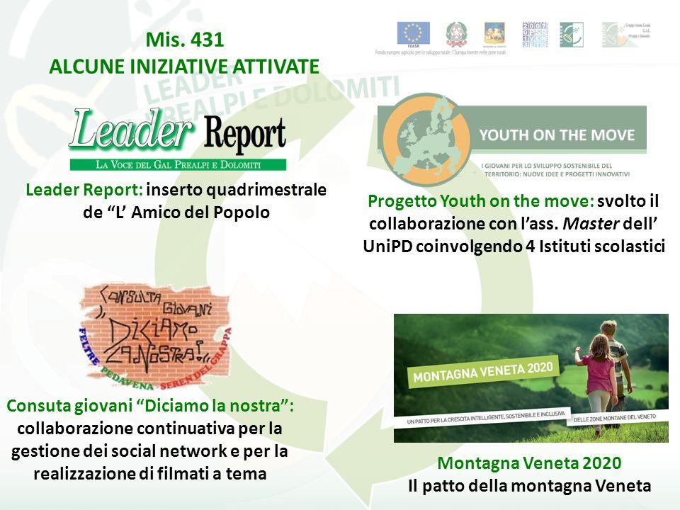 Mis. 431 ALCUNE INIZIATIVE ATTIVATE Leader Report: inserto quadrimestrale de L Amico del Popolo Progetto Youth on the move: svolto il collaborazione c