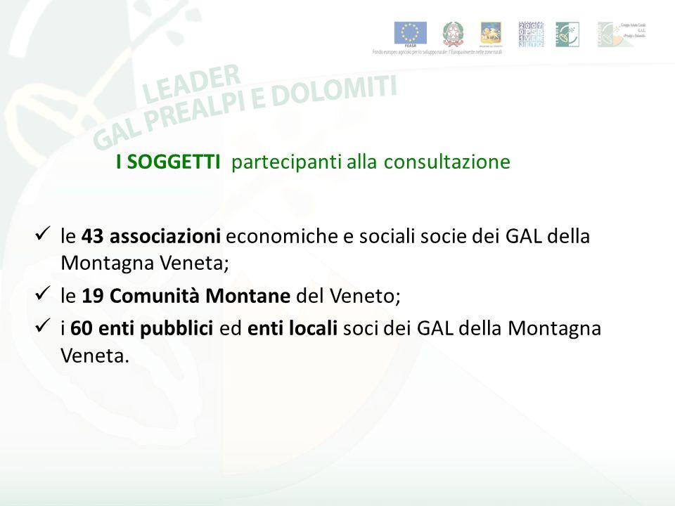 I SOGGETTI partecipanti alla consultazione le 43 associazioni economiche e sociali socie dei GAL della Montagna Veneta; le 19 Comunità Montane del Veneto; i 60 enti pubblici ed enti locali soci dei GAL della Montagna Veneta.