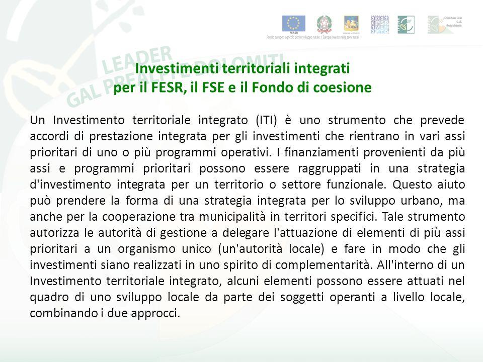 Un Investimento territoriale integrato (ITI) è uno strumento che prevede accordi di prestazione integrata per gli investimenti che rientrano in vari assi prioritari di uno o più programmi operativi.