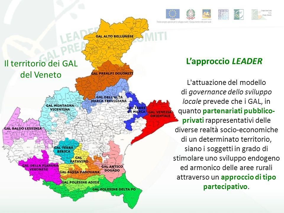 GLI OBBIETTIVI L Asse IV LEADER del PSR della Regione Veneto, attraverso l attivazione dei Programmi di Sviluppo Locale (PSL) si propone di conseguire i seguenti obiettivi: 1 - sostenere gli approcci partecipativi e la gestione integrata per lo sviluppo delle aree rurali attraverso il rafforzamento e la valorizzazione dei partenariati locali; 2 - migliorare le capacità delle partnership locali di sviluppare strategie e modelli innovativi di crescita nelle aree rurali; 3 - promuovere la cooperazione tra territori; 4 - stimolare uno sviluppo endogeno armonico delle aree rurali, in particolare attraverso il miglioramento della qualità della vita, la diversificazione delle attività economiche e l integrazione tra settori diversi.