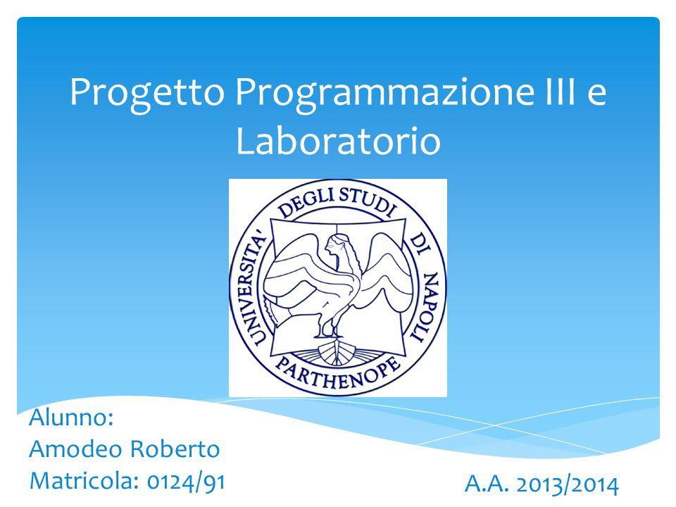 Progetto Programmazione III e Laboratorio Alunno: Amodeo Roberto Matricola: 0124/91 A.A. 2013/2014