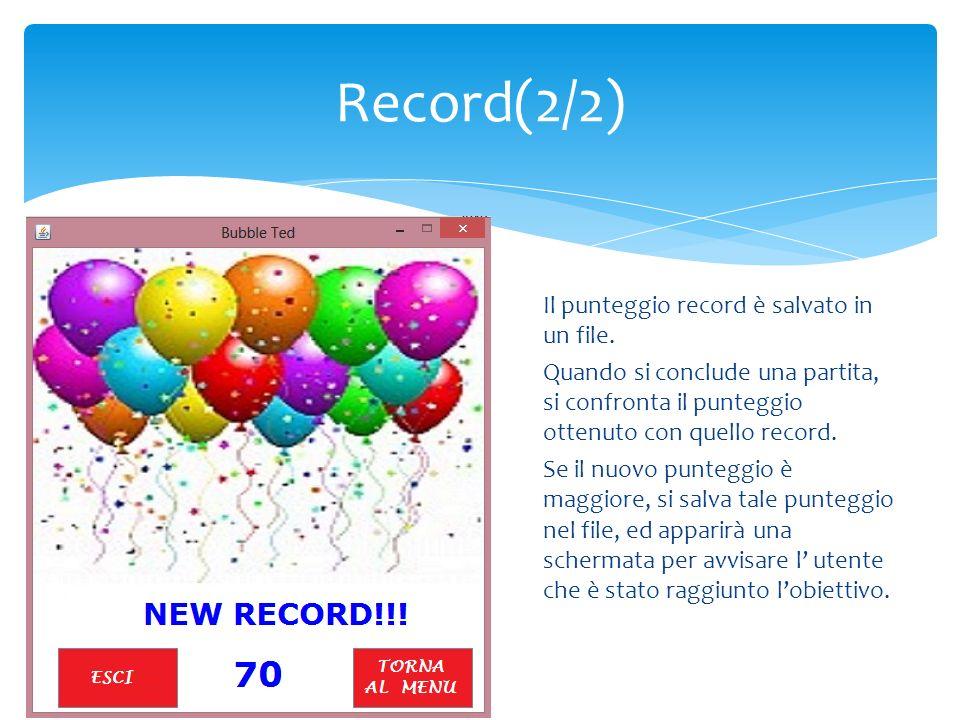 Il punteggio record è salvato in un file. Quando si conclude una partita, si confronta il punteggio ottenuto con quello record. Se il nuovo punteggio