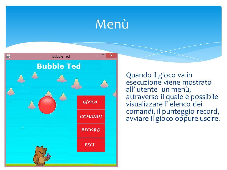 Menù Quando il gioco va in esecuzione viene mostrato all utente un menù, attraverso il quale è possibile visualizzare l elenco dei comandi, il punteggio record, avviare il gioco oppure uscire.