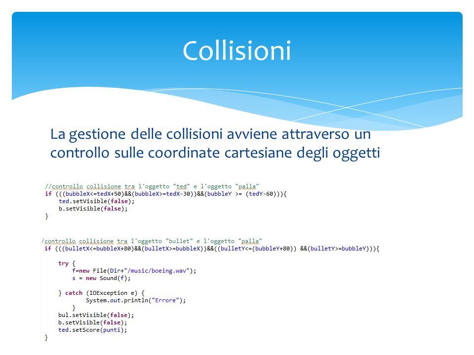 La gestione delle collisioni avviene attraverso un controllo sulle coordinate cartesiane degli oggetti Collisioni