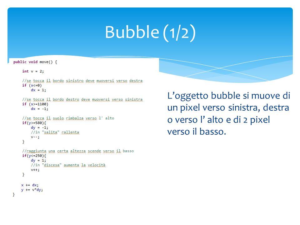 Attraverso le variabili conta e velocità si fa in modo che inizialmente gli oggetti bubble saranno instanziati lentamente e poi via via sempre più velocemente per rendere il gioco più difficile e avvincente Bubble (2/2)