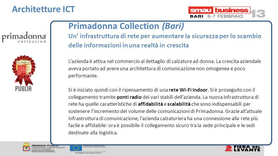 Primadonna Collection (Bari) Un infrastruttura di rete per aumentare la sicurezza per lo scambio delle informazioni in una realtà in crescita Lazienda è attiva nel commercio al dettaglio di calzature ad donna.