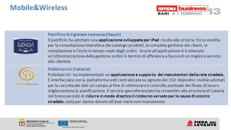Pastificio Artigianale Leonessa (Napoli) Il pastificio ha adottato una applicazione sviluppata per iPad rivolta alla propria forza vendita per la cons