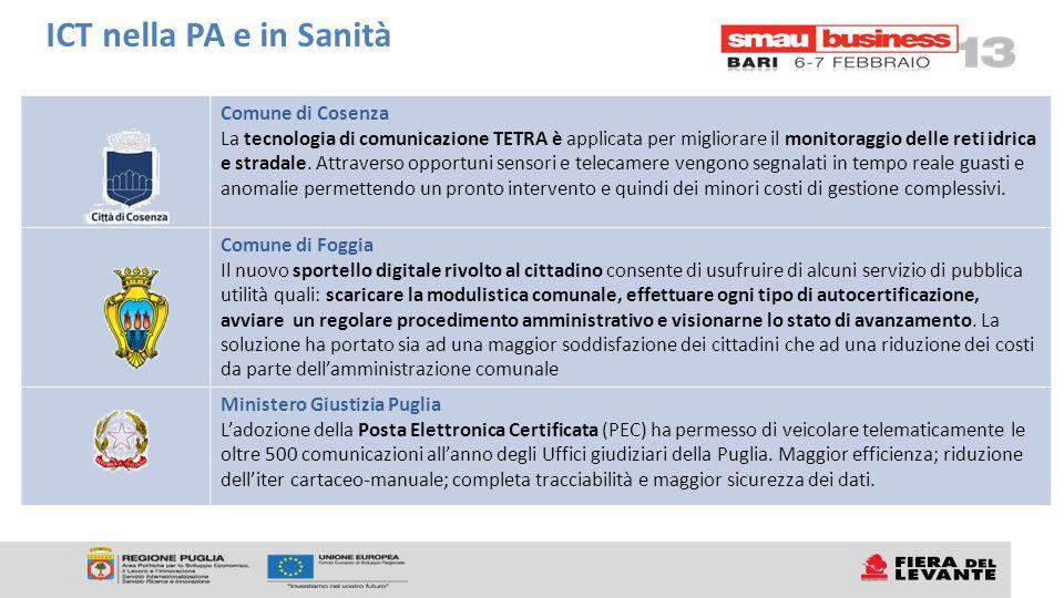 Comune di Cosenza La tecnologia di comunicazione TETRA è applicata per migliorare il monitoraggio delle reti idrica e stradale. Attraverso opportuni s