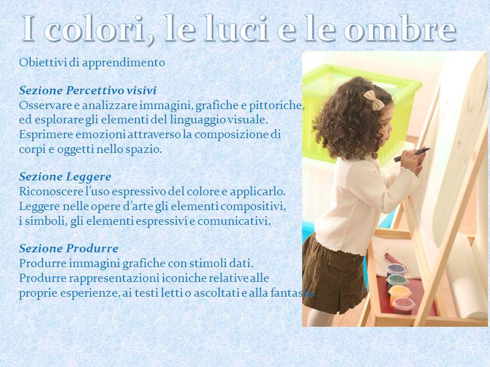 Obiettivi di apprendimento Sezione Percettivo visivi Osservare e analizzare immagini, grafiche e pittoriche, ed esplorare gli elementi del linguaggio