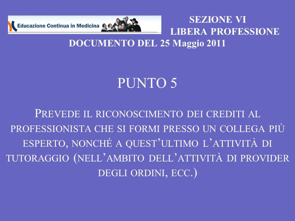 SEZIONE VI LIBERA PROFESSIONE DOCUMENTO DEL 25 Maggio 2011 PUNTO 5 P REVEDE IL RICONOSCIMENTO DEI CREDITI AL PROFESSIONISTA CHE SI FORMI PRESSO UN COLLEGA PIÙ ESPERTO, NONCHÉ A QUEST ULTIMO L ATTIVITÀ DI TUTORAGGIO ( NELL AMBITO DELL ATTIVITÀ DI PROVIDER DEGLI ORDINI, ECC.)