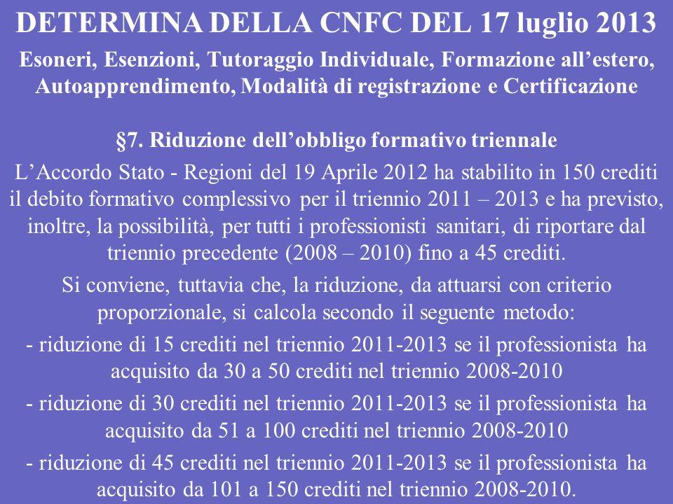 DETERMINA DELLA CNFC DEL 17 luglio 2013 Esoneri, Esenzioni, Tutoraggio Individuale, Formazione allestero, Autoapprendimento, Modalità di registrazione e Certificazione §7.