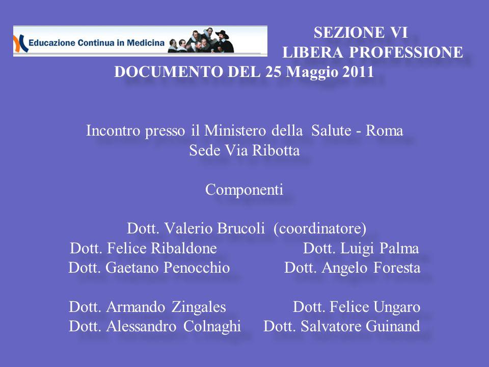 SEZIONE VI LIBERA PROFESSIONE DOCUMENTO DEL 25 Maggio 2011 PUNTO 9 P REVEDERE PER I LIBERI PROFESSIONISTI ( INDIVIDUATI COME TALI DA ORDINI, ECC.) ATTIVITÀ ECM GRATUITE NELL AMBITO DEI PROGRAMMI FORMATIVI AZIENDALI E / O REGIONALI ( IN ANALOGIA A QUELLI CHE LE AZIENDE SANITARIE RIVOLGONO AI PROPRI DIPENDENTI ) DA ATTUARSI ANCHE ATTRAVERSO QUOTE RISERVATE DI ISCRIZIONI (5%-10%).