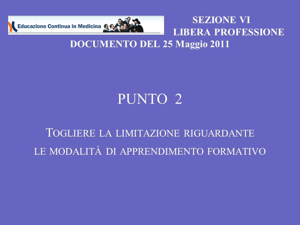 SEZIONE VI LIBERA PROFESSIONE DOCUMENTO DEL 25 Maggio 2011 PUNTO 2 T OGLIERE LA LIMITAZIONE RIGUARDANTE LE MODALITÀ DI APPRENDIMENTO FORMATIVO