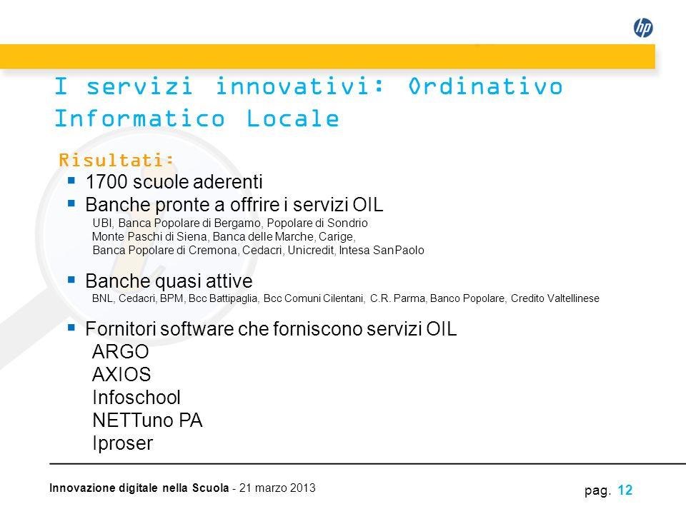 Innovazione digitale nella Scuola - 21 marzo 2013 pag. 12 I servizi innovativi: Ordinativo Informatico Locale Risultati: 1700 scuole aderenti Banche p