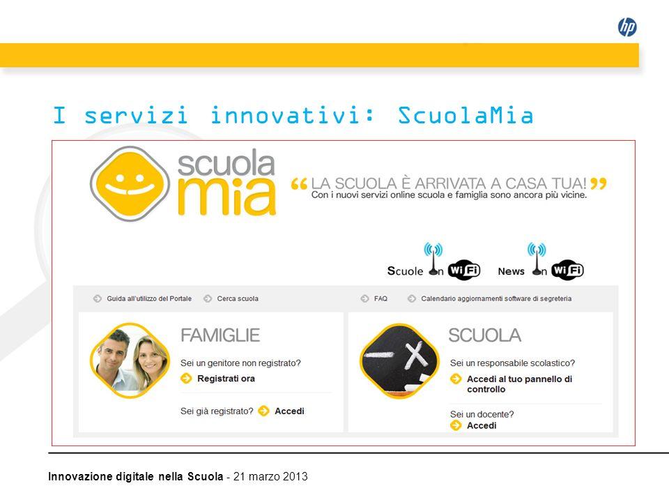 Innovazione digitale nella Scuola - 21 marzo 2013 I servizi innovativi: ScuolaMia