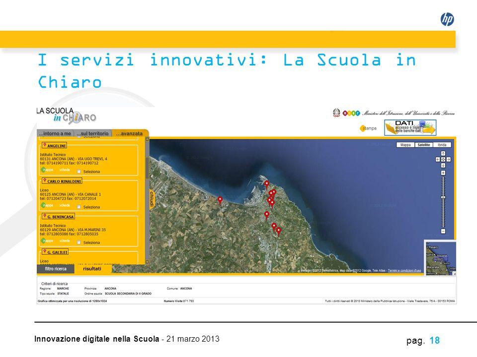Innovazione digitale nella Scuola - 21 marzo 2013 pag. 18 I servizi innovativi: La Scuola in Chiaro