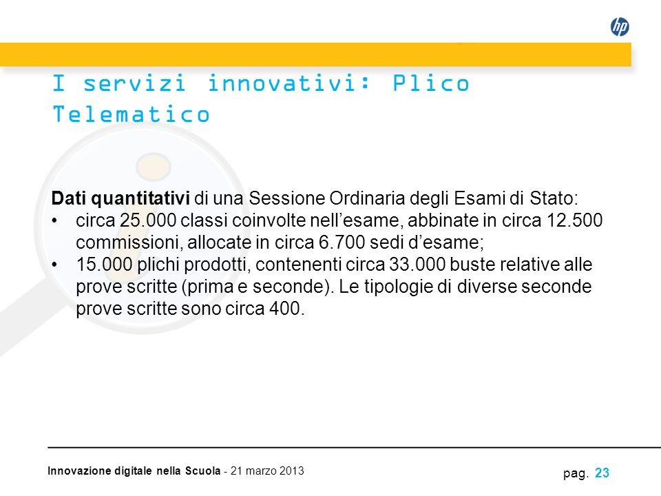 Innovazione digitale nella Scuola - 21 marzo 2013 Dati quantitativi di una Sessione Ordinaria degli Esami di Stato: circa 25.000 classi coinvolte nell
