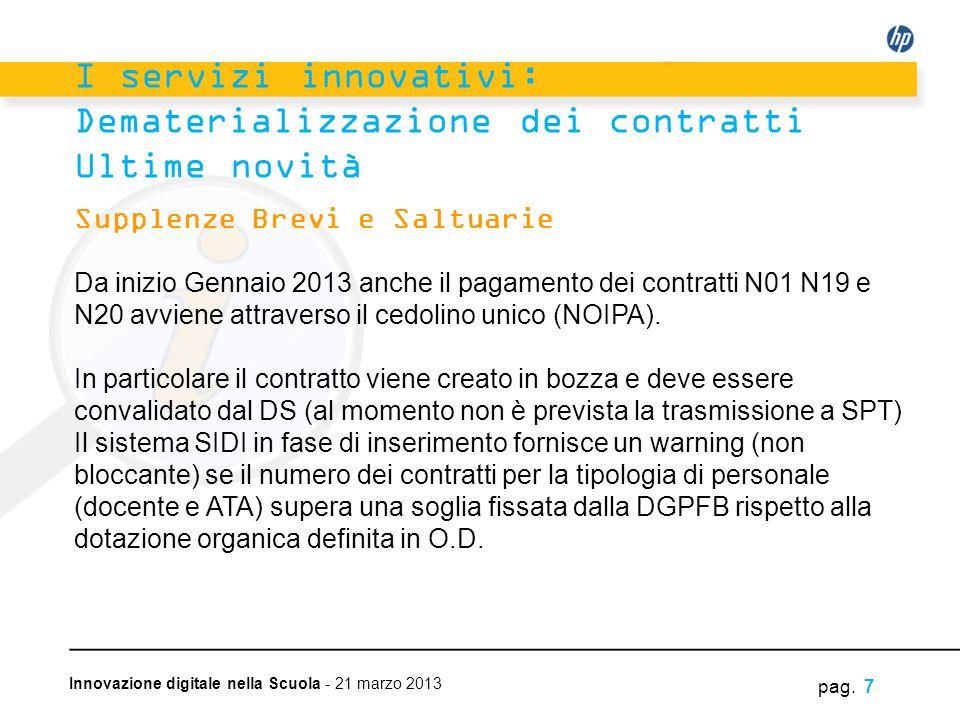 Innovazione digitale nella Scuola - 21 marzo 2013 Supplenze Brevi e Saltuarie Da inizio Gennaio 2013 anche il pagamento dei contratti N01 N19 e N20 av