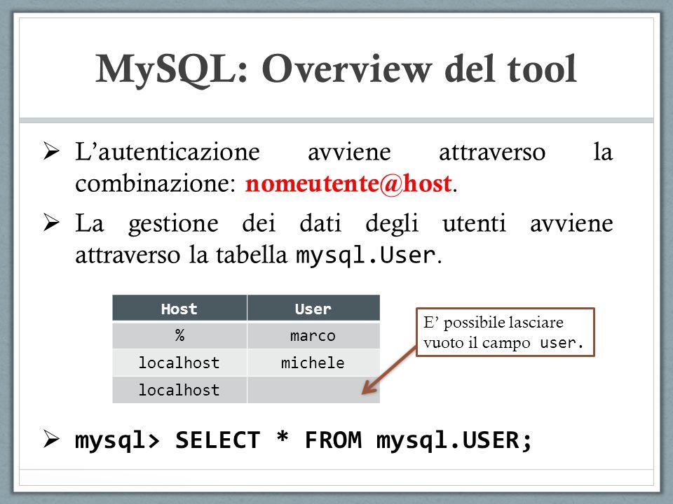 Lautenticazione avviene attraverso la combinazione: nomeutente@host. La gestione dei dati degli utenti avviene attraverso la tabella mysql.User. MySQL